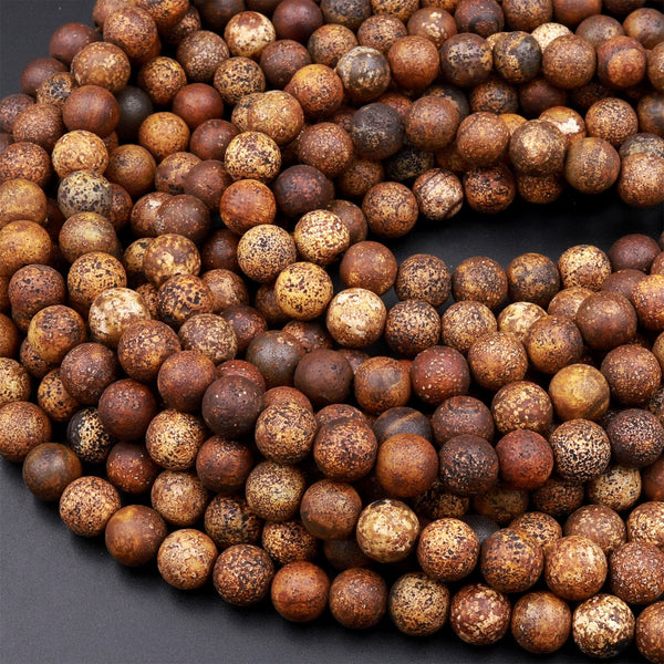 "Tibetan Agate 6mm 8mm Round Beads Rustic Brown Antique Boho Mala Beads 15.5"" Strand"
