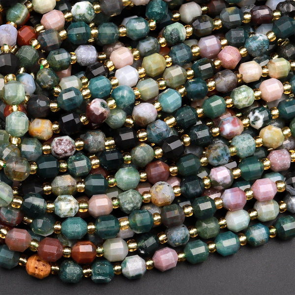 "Natural Indian Agate 6mm 8mm Beads Rounded Faceted Energy Prism Double Terminated Points 15.5"" Strand"