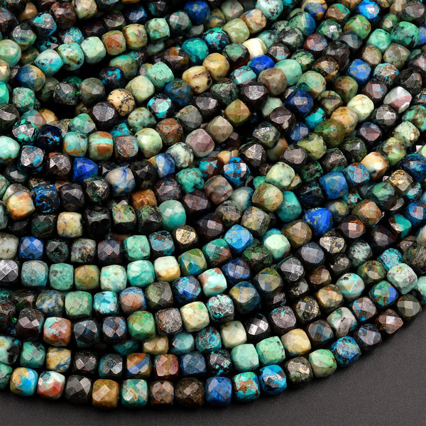 "Natural Chrysocolla Azurite Faceted 4mm 5mm Cube Dice Square Beads Micro Faceted Laser Diamond Cut 15.5"" Strand"
