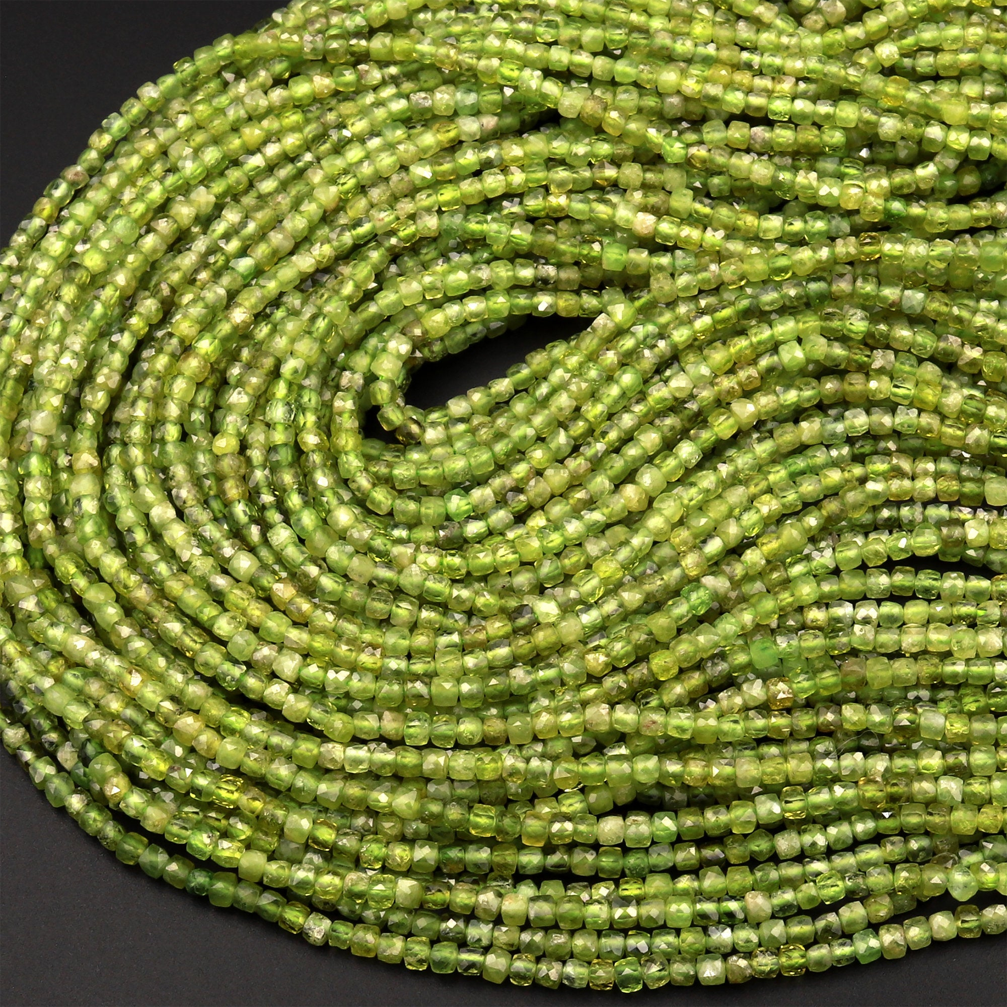 "Natural Green Peridot Micro Faceted 2mm Cube Dice Square Beads 15.5"" Strand"