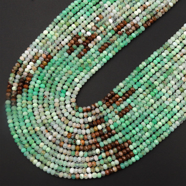 "Natural Multicolor Chrysoprase Faceted 3mm Rondelle Beads Diamond Cut Brown Green Gemstone Beads 15.5"" Strand"