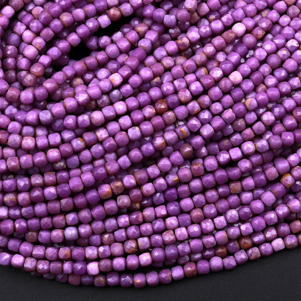 "AAA Natural Phosphosiderite 2mm Faceted Cube Beads Micro Cut Gemstone Genuine Lilac Purple Stone 15.5"" Strand"