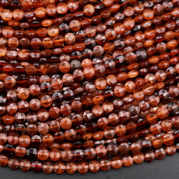 "Natural Honey Brown Hessonite Garnet 4mm Faceted Coin Beads 15.5"" Strand"