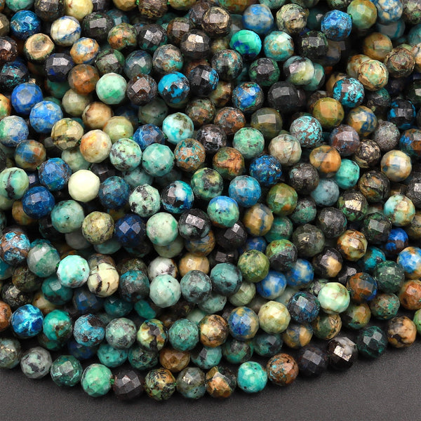 "Faceted Natural Chrysocolla Azurite Round Beads 4mm 5mm Micro Laser Diamond Cut Blue Green Gemstone 15.5"" Strand"
