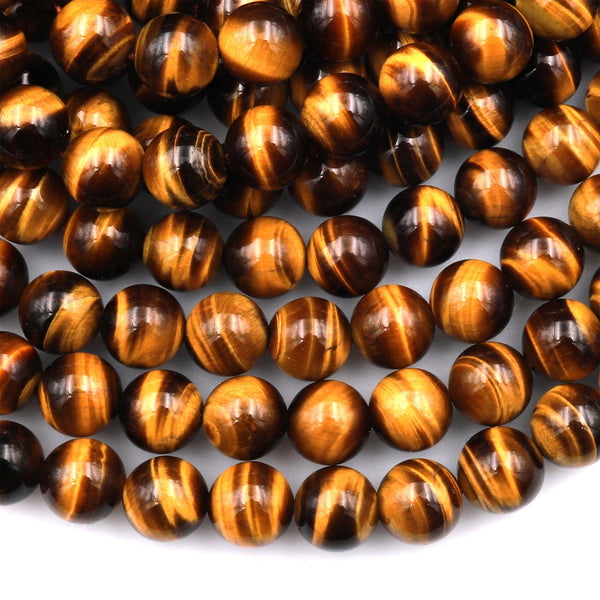"AAA+ Natural Tiger's Eye 6mm 8mm 10mm 12mm Round Beads Amazing Chatoyant Swirls 15.5"" Strand"