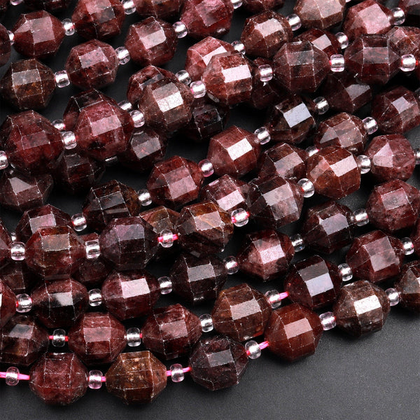 "Natural Red Garnet 8mm 10mm Beads Faceted Energy Prism Double Terminated Points 15.5"" Strand"