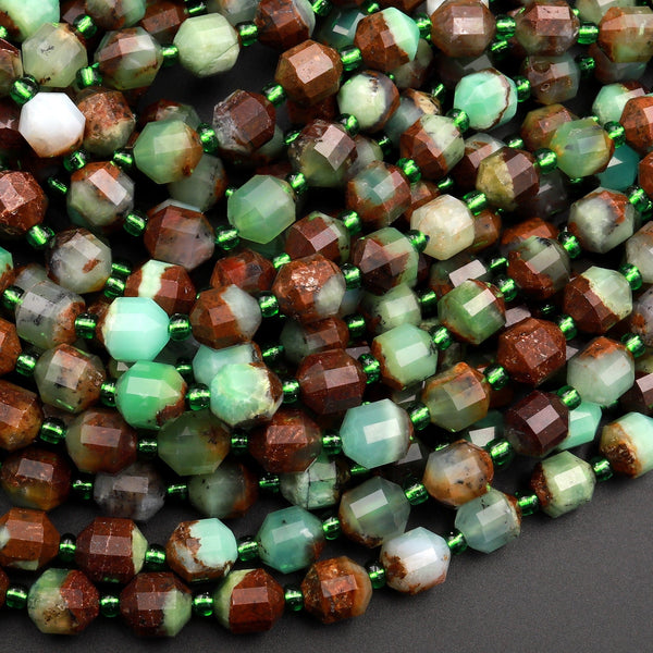 "Natural Bicolor Green Brown Chrysoprase 6mm 8mm Beads Rounded Faceted Energy Prism Double Terminated Points 15.5"" Strand"
