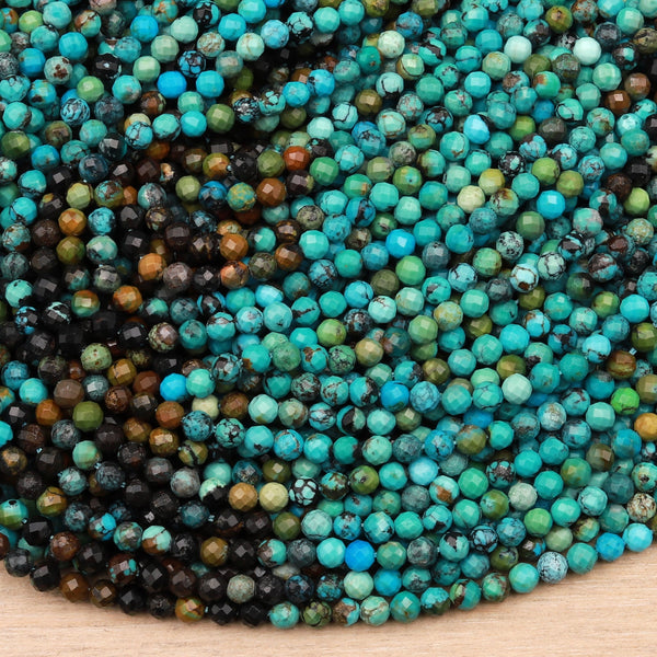 "Genuine Natural Turquoise 3mm 4mm Faceted Round Beads Multicolor Blue Green Brown Turquoise Micro Faceted Diamond Cut 15.5"" Strand"