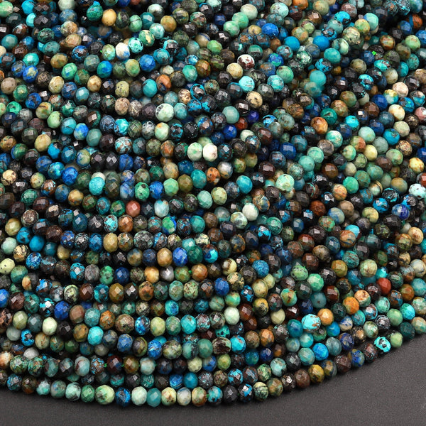 "AAA Micro Faceted Small Natural Chrysocolla Azurite Rondelle Beads 3mm Laser Diamond Cut Blue Green Gemstone 15.5"" Strand"