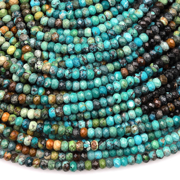 "Genuine Natural Turquoise 3mm 4mm Faceted Rondelle Beads Multicolor Blue Green Brown Turquoise Micro Faceted Diamond Cut 15.5"" Strand"