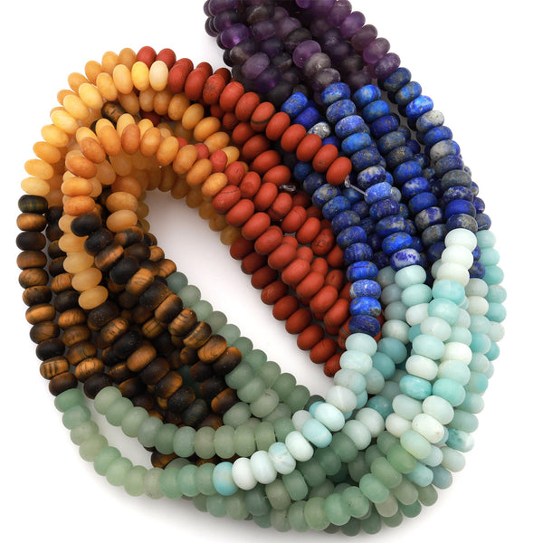 "Matte Chakra Beads 6mm 8mm Rondelle Gemstone Amethyst Lapis Amazonite Aventurine Tiger's Eye Yellow Jade Red Jasper 15.5"" Strand"