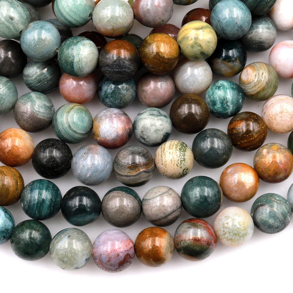 "Natural Ocean Wave Jasper Round Beads 4mm 6mm 8mm 10mm 12mm High Quality Round Beads 15.5"" Strand"