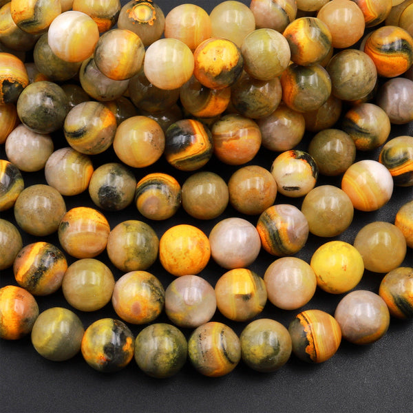"AAA Natural Bumble Bee Jasper Smooth Round Beads 6mm 8mm 10mm 15.5"" Strand"