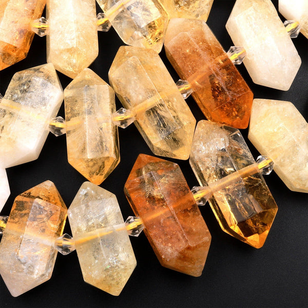 "Natural Citrine Beads Faceted Double Terminated Points Healing Natural Quartz Crystal Focal Pendant 15.5"" Strand"