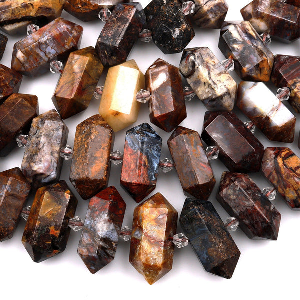 "Natural Pietersite Beads Faceted Double Terminated Points Drilled Real Genuine Gemstone Focal Pendant 15.5"" Strand"
