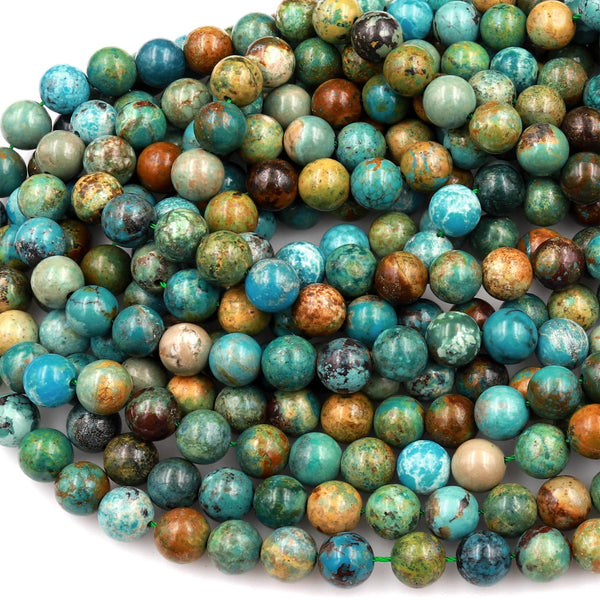 "Real Genuine Natural Blue Green Brown Turquoise 6mm 8mm 10mm Smooth Round Beads 15.5"" Strand"