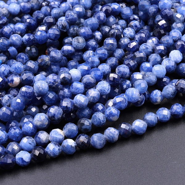 "Faceted Natural Blue Sodalite 2mm 3mm 4mm 5mm 6mm Round Beads 16"" Strand"
