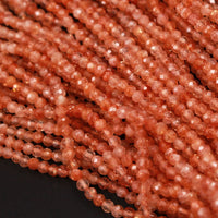 "Fiery Natural Sunstone Round Beads 2mm 3mm 4mm 5mm Faceted AAA Quality Micro Faceted Small Diamond Cut Orange Gold Gemstone 16"" Strand"