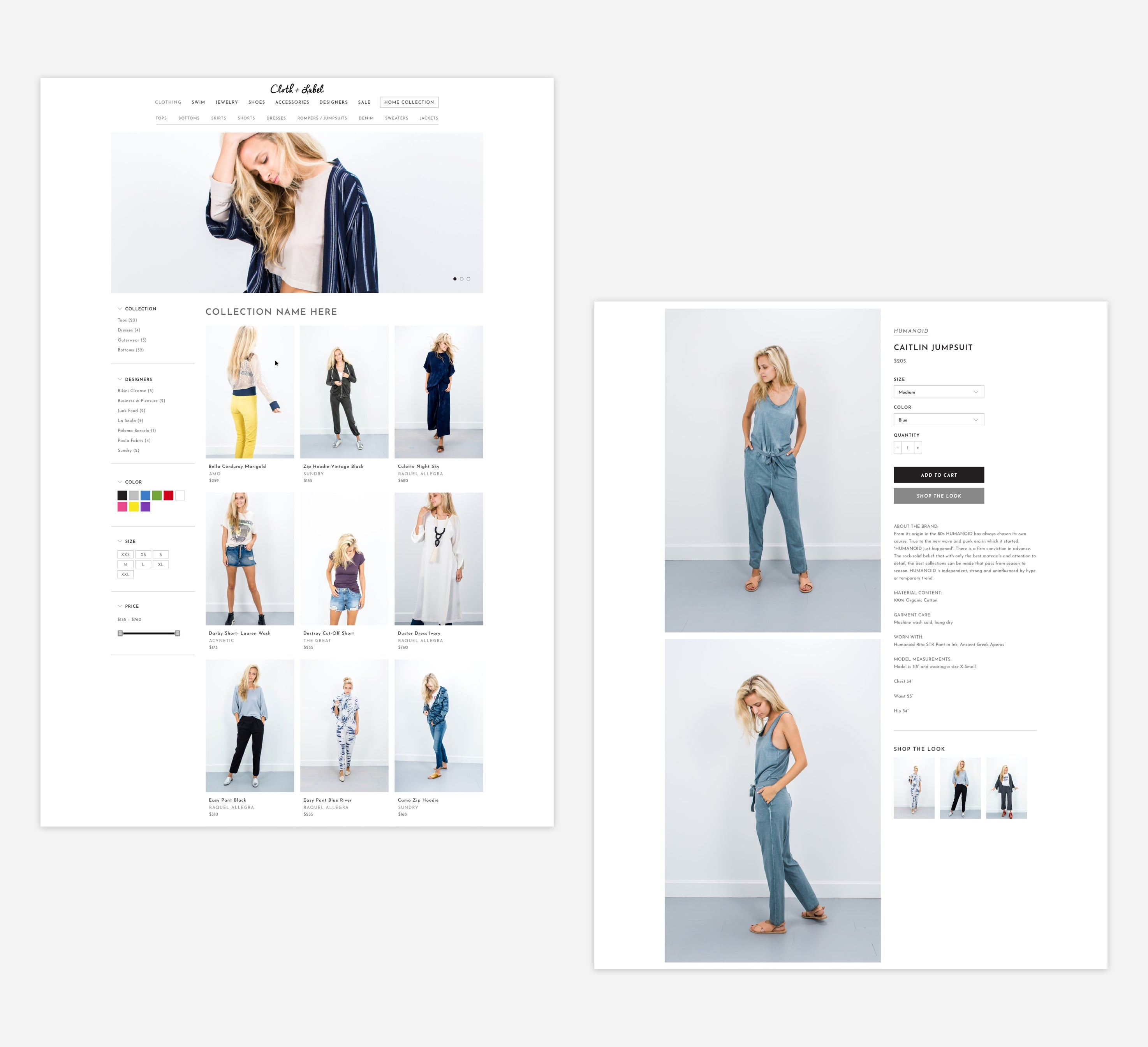 Cloth + Label Collection and product page, Custom Shopify Site, Minimalist and Chic