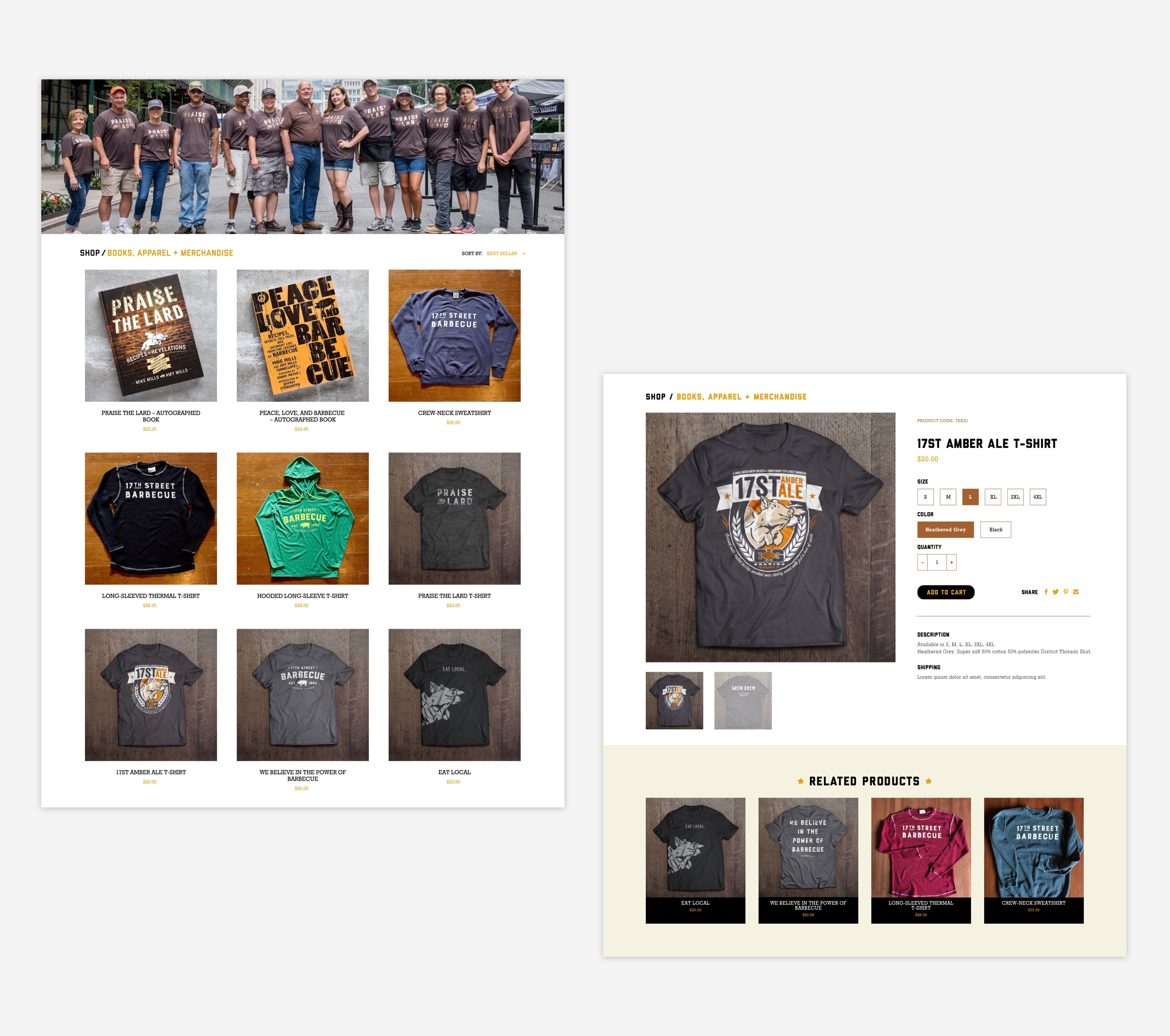 The Shop at 17th Street Collection and Product Page, Custom Shopify Site, grungy and local