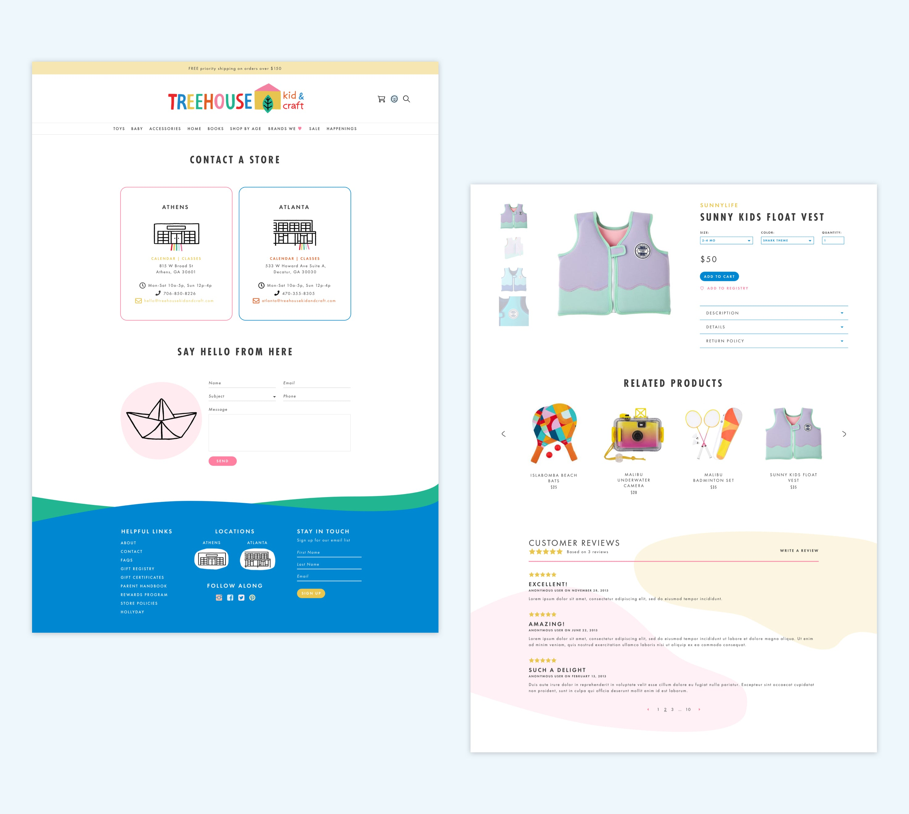 TREEHOUSE kid & craft contact and product page, Custom Shopify Site, Playful and Whimsical