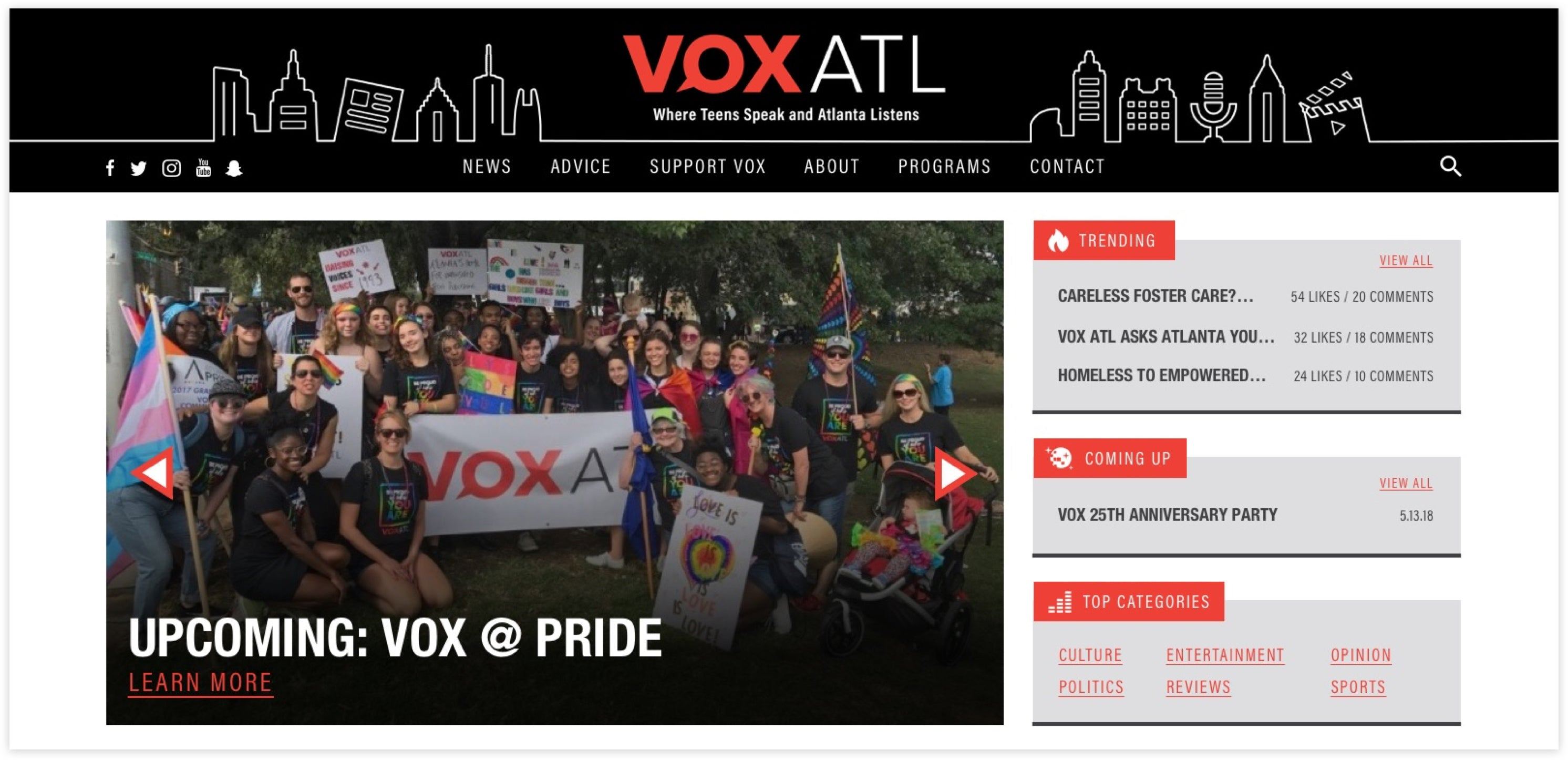 VOX ATL Homepage, Custom Wordpress Site, news website for teens speaking out