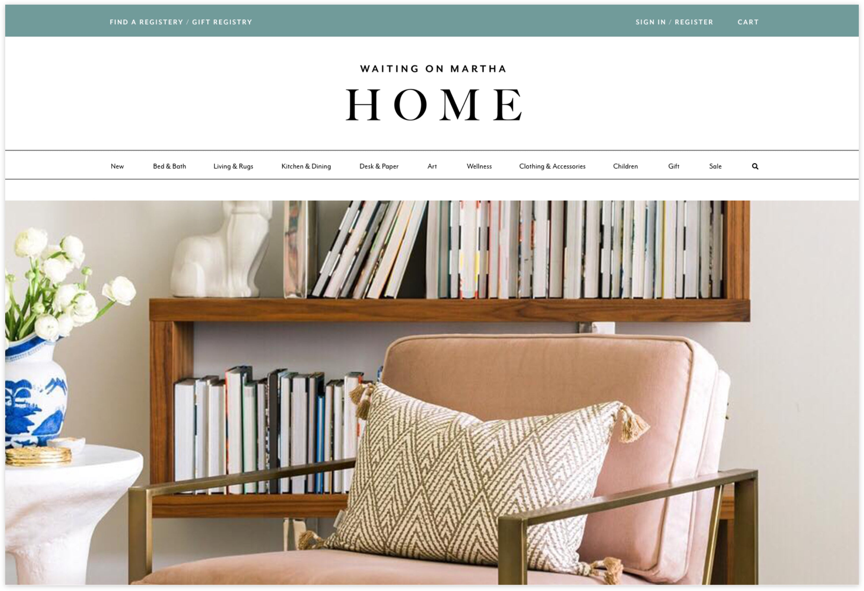 Waiting on Martha Homepage, Custom Shopify Site, Lifestyle and Chic Aesthetic