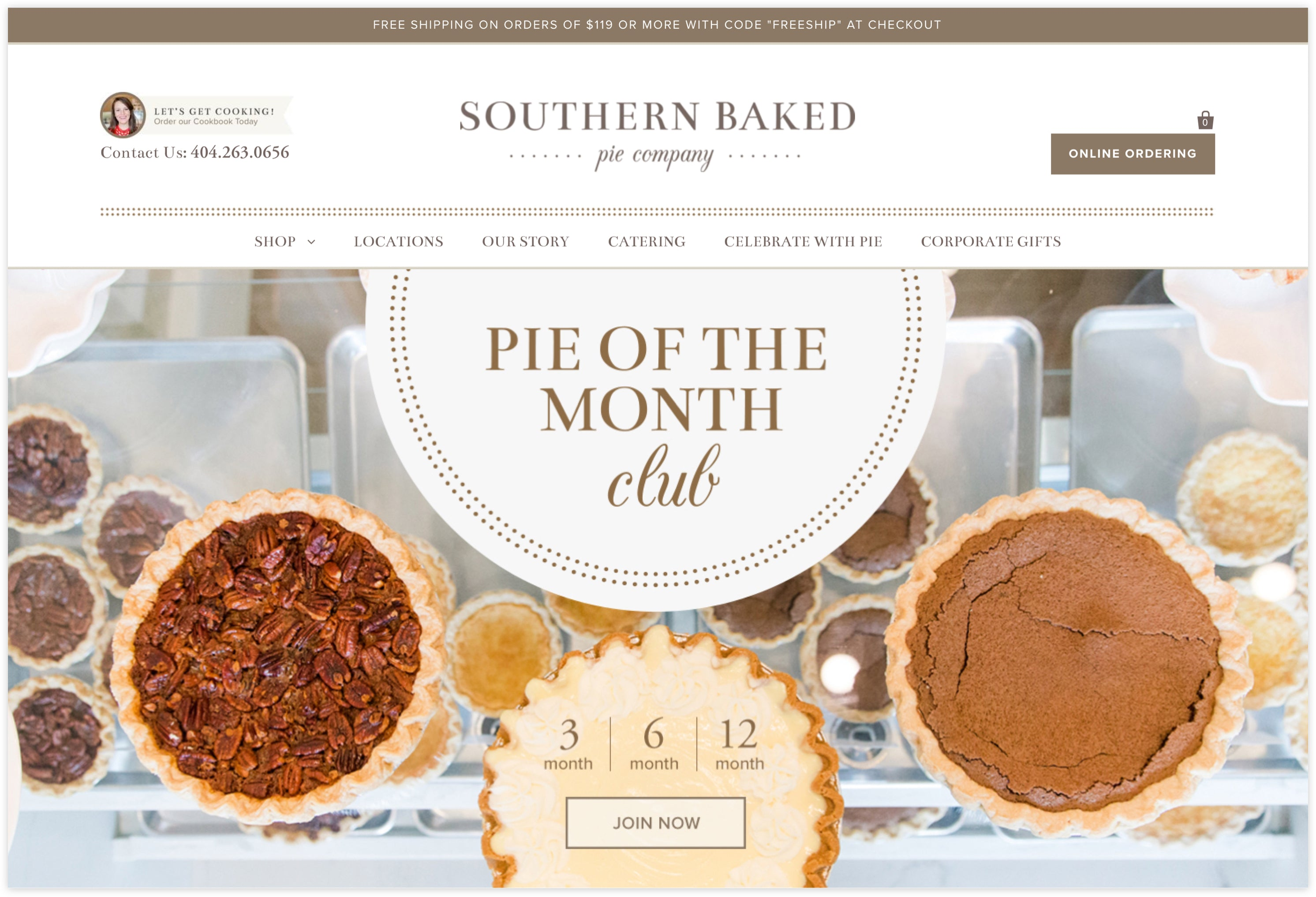Southern Baked Pie Homepage, Iconography and subscription service, sweet and southern