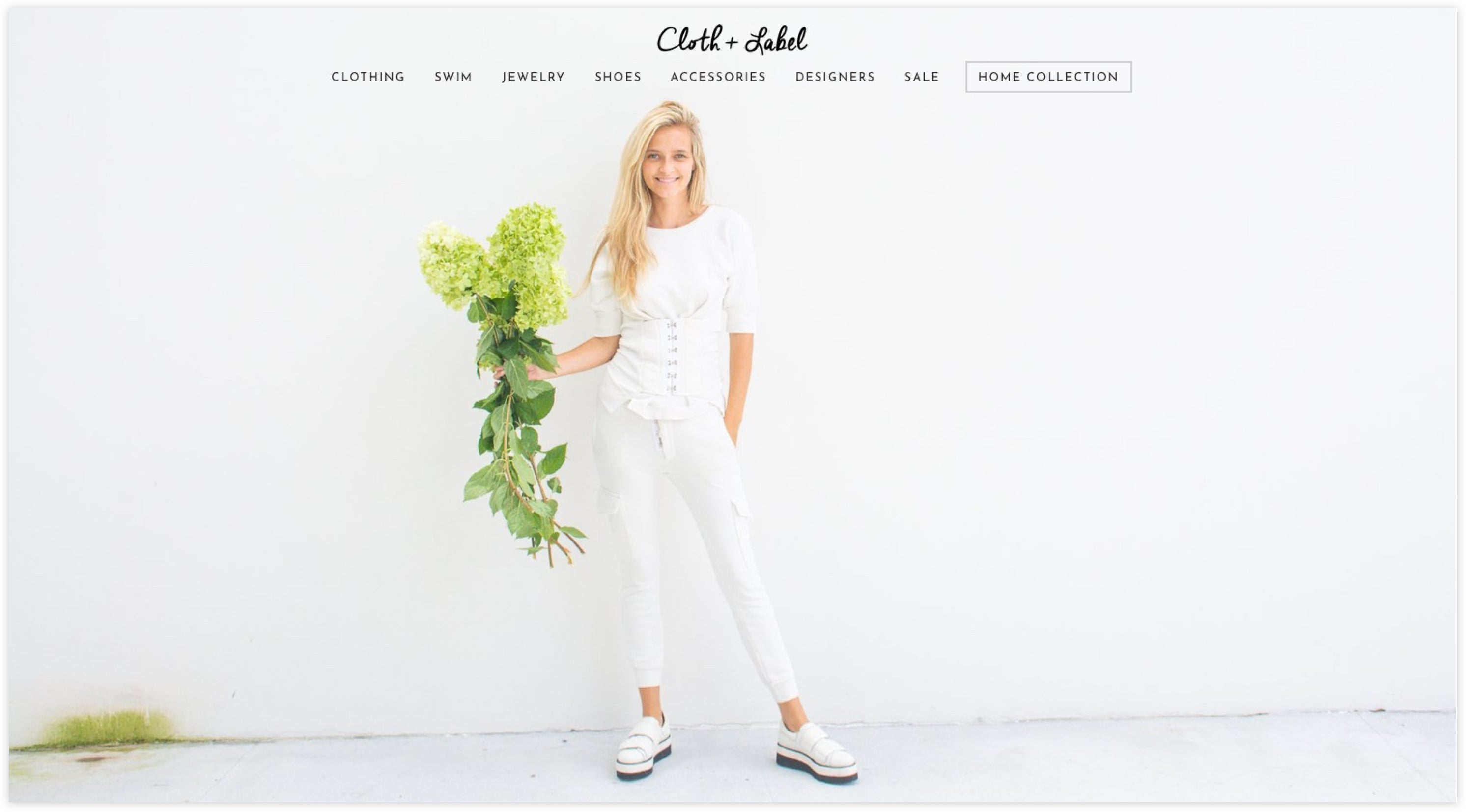 Cloth + Label Homepage, Custom Shopify Site, Minimalist and Chic