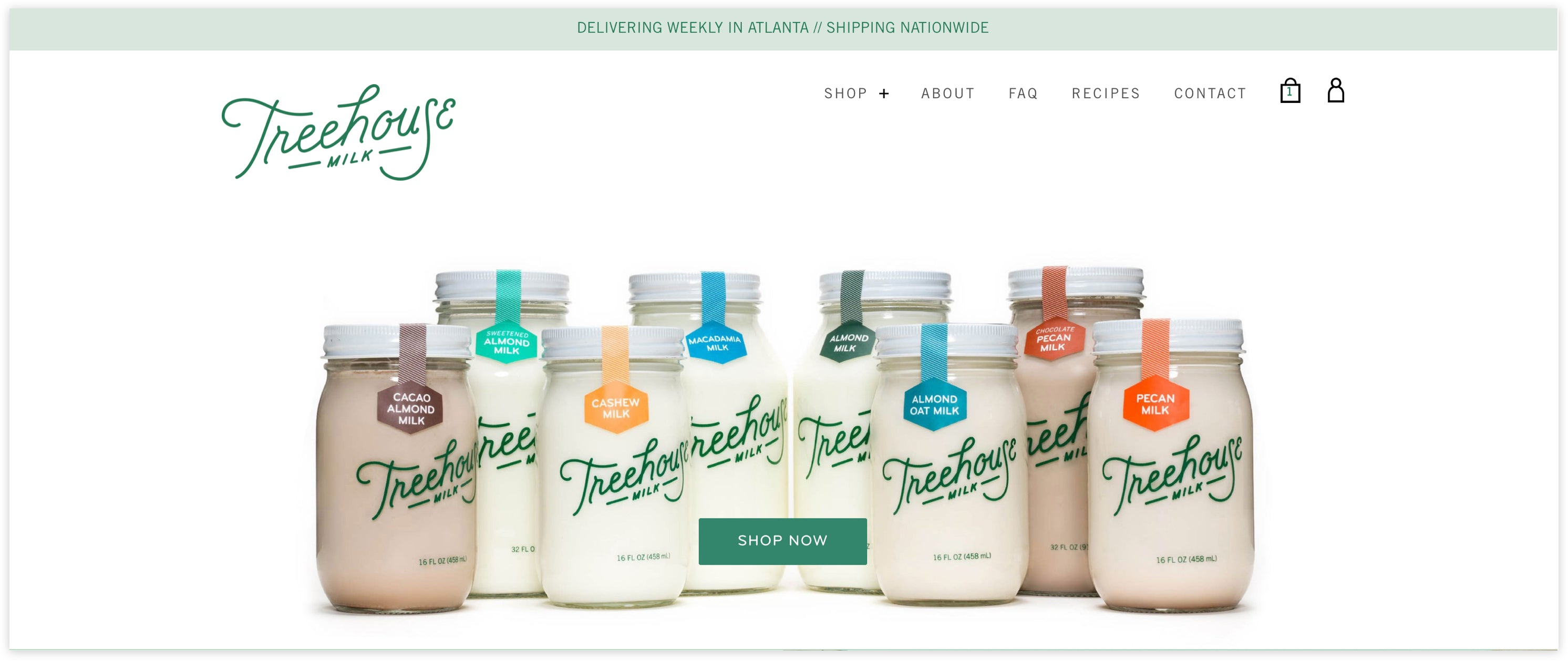 Treehouse Milk Homepage, Plug and Play, clean and lively