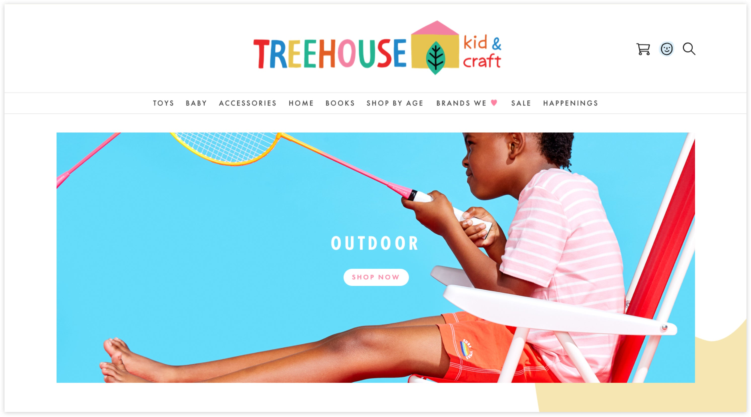 TREEHOUSE kid & craft homepage, Custom Shopify Site, Playful and Whimsical