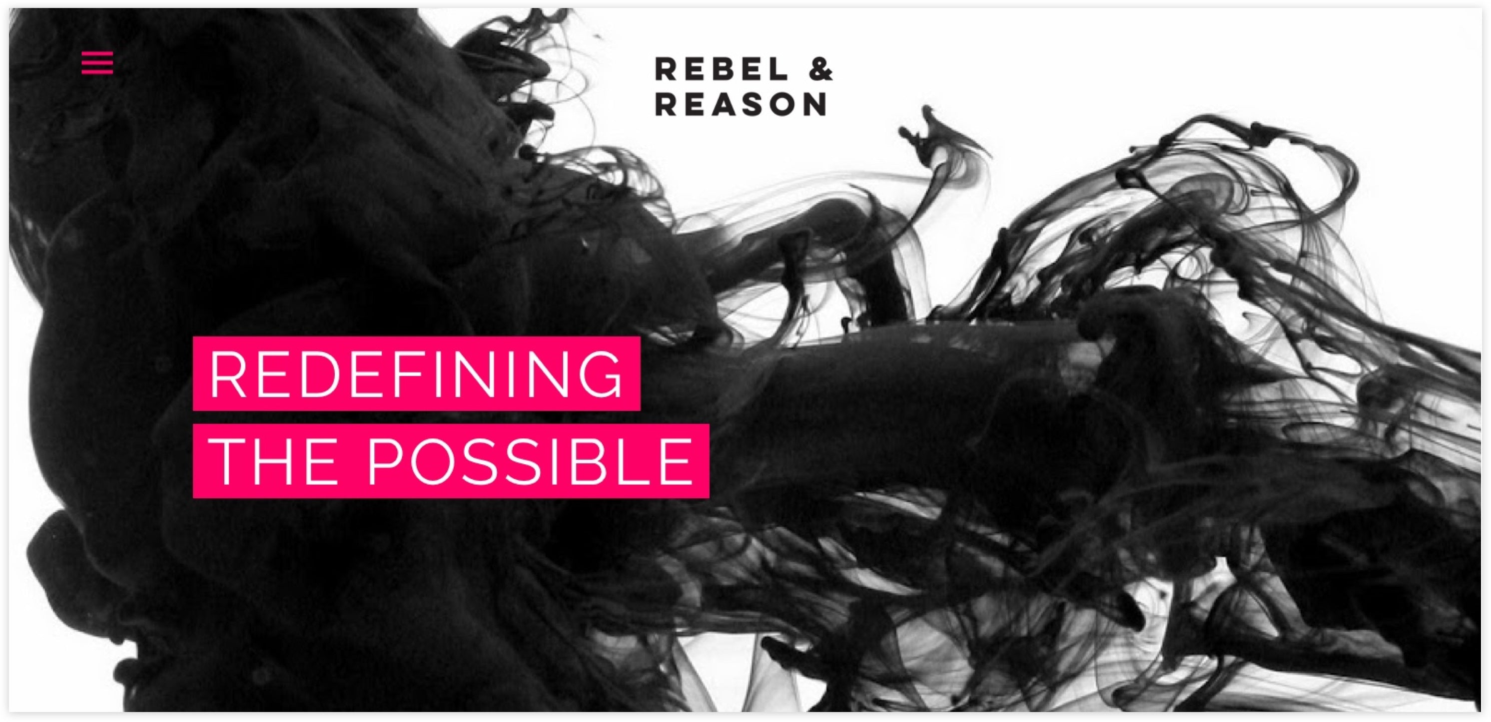 Rebel + Reason Homepage, Custom Shopify Site, Rebellious and Independent