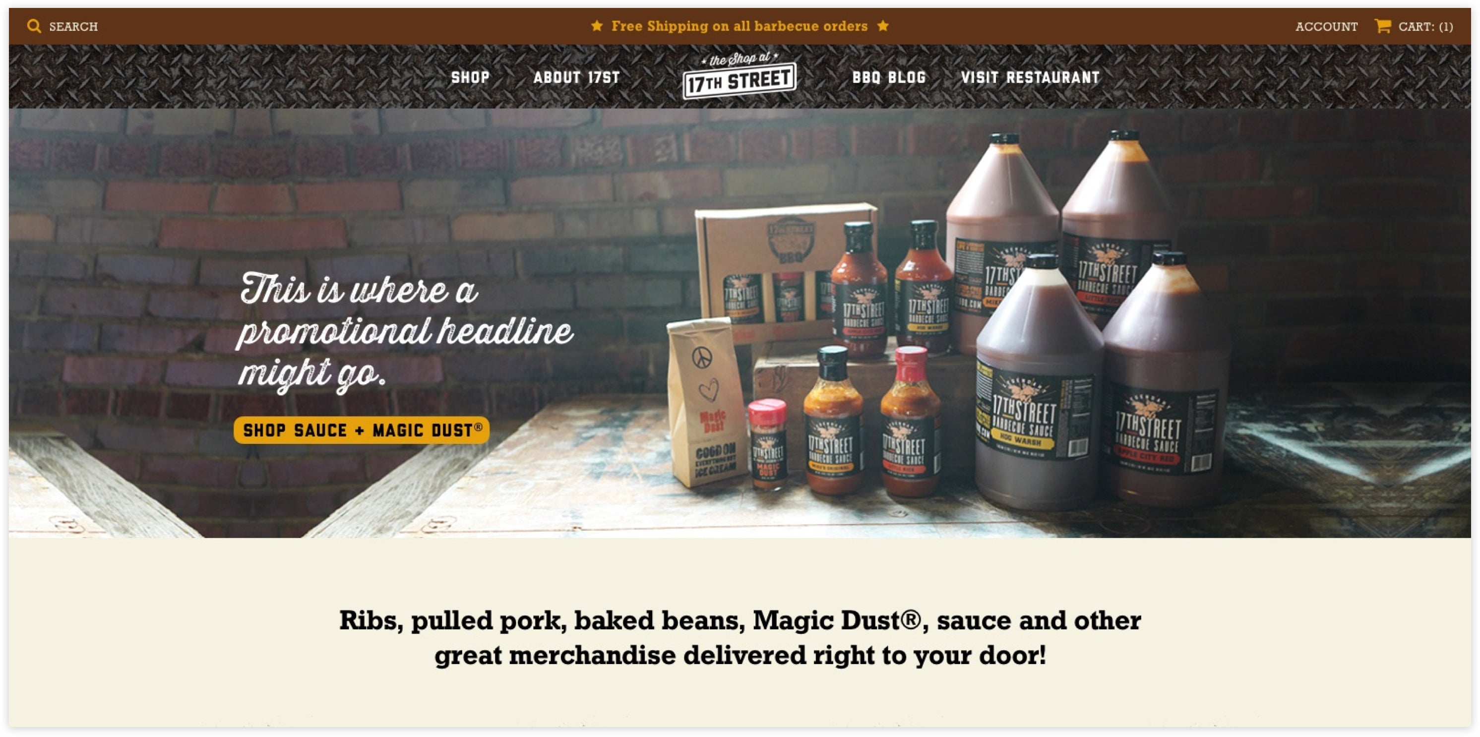 The Shop at 17th Street Homepage, Custom Shopify Site, grungy and local