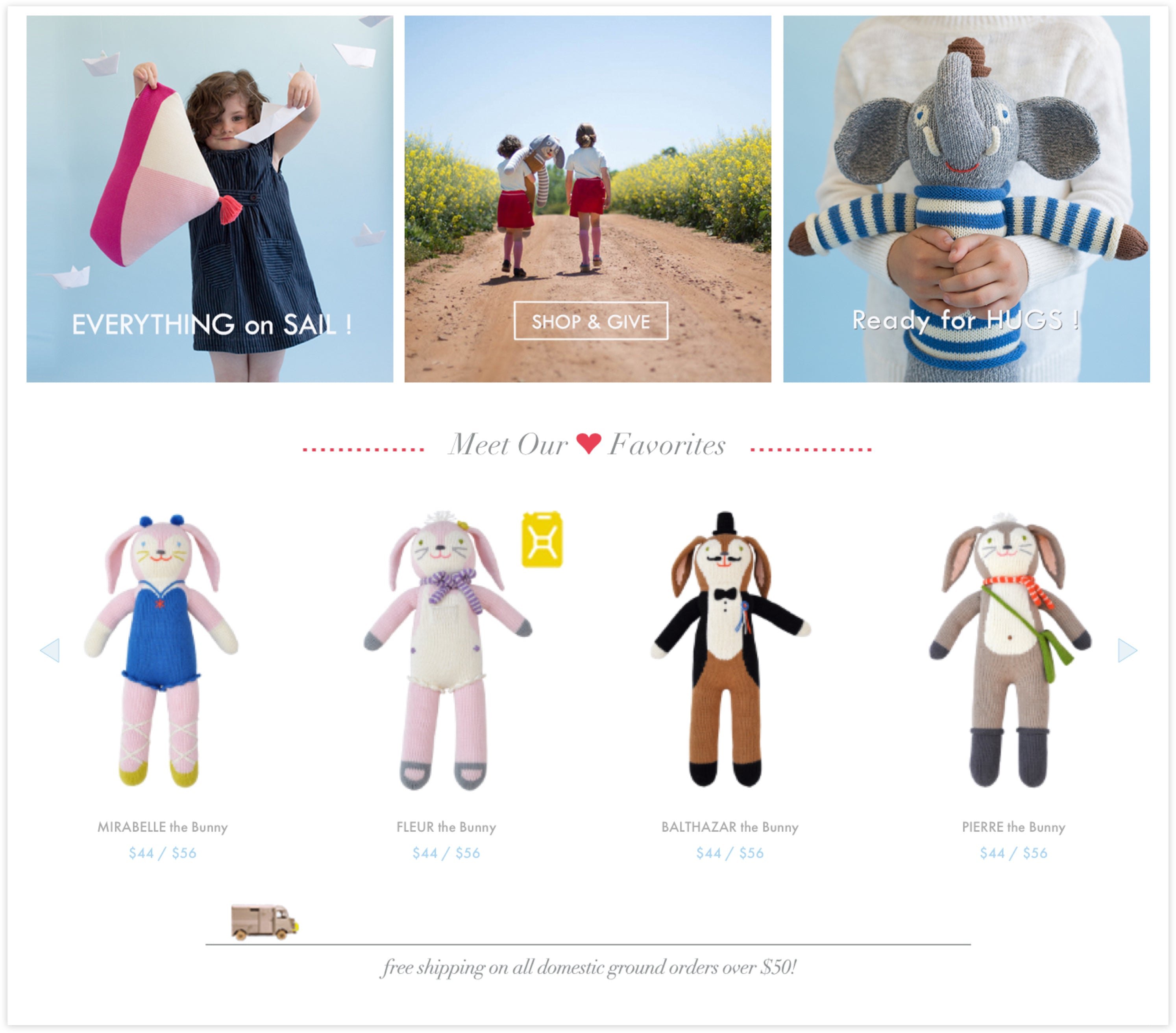 BlaBla Kids Homepage Detail, Custom Shopify Site, whimsical and fun