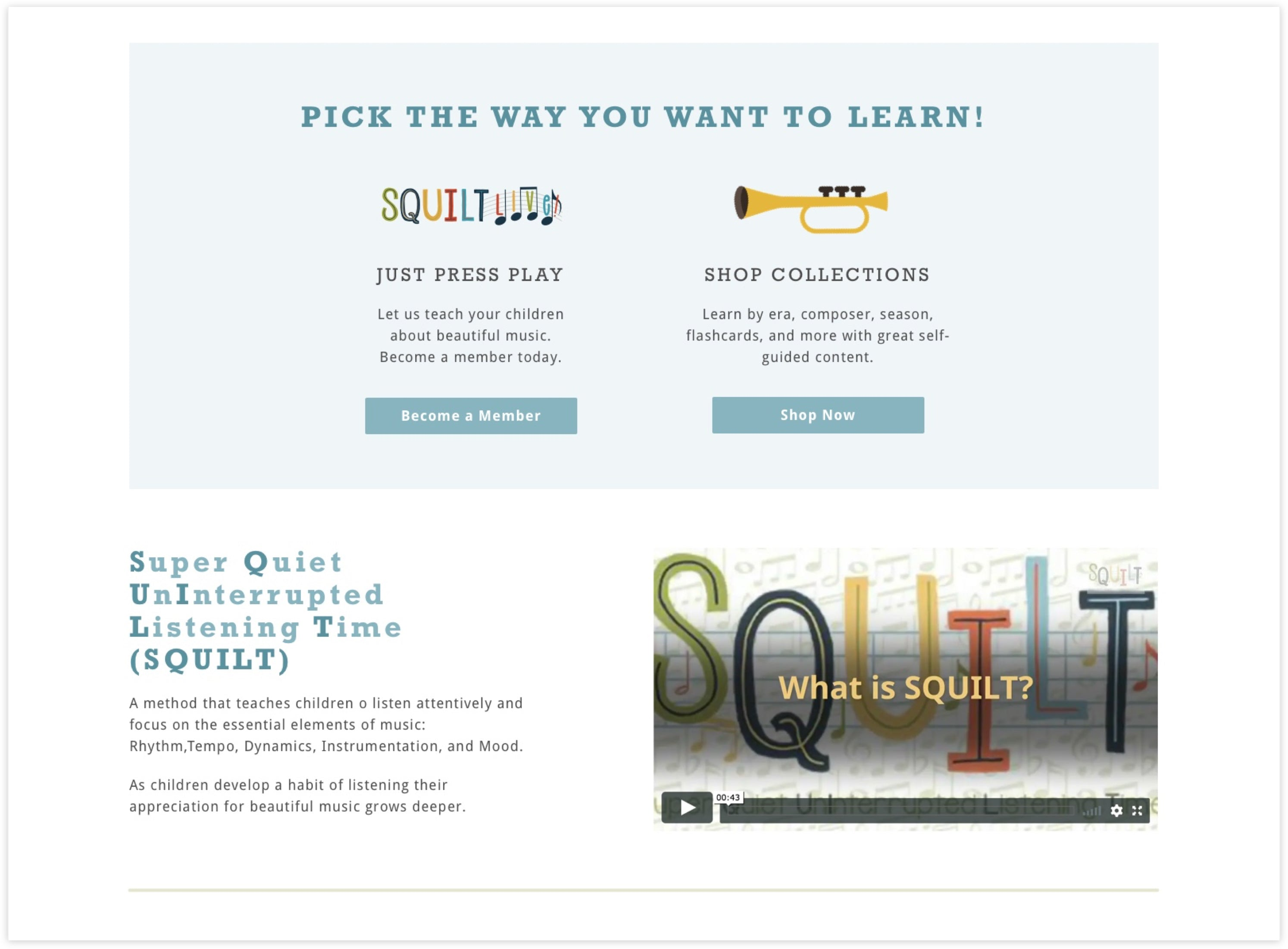 SQUILT Music Homepage Detail, Custom Shopify Site, Fun and Educational