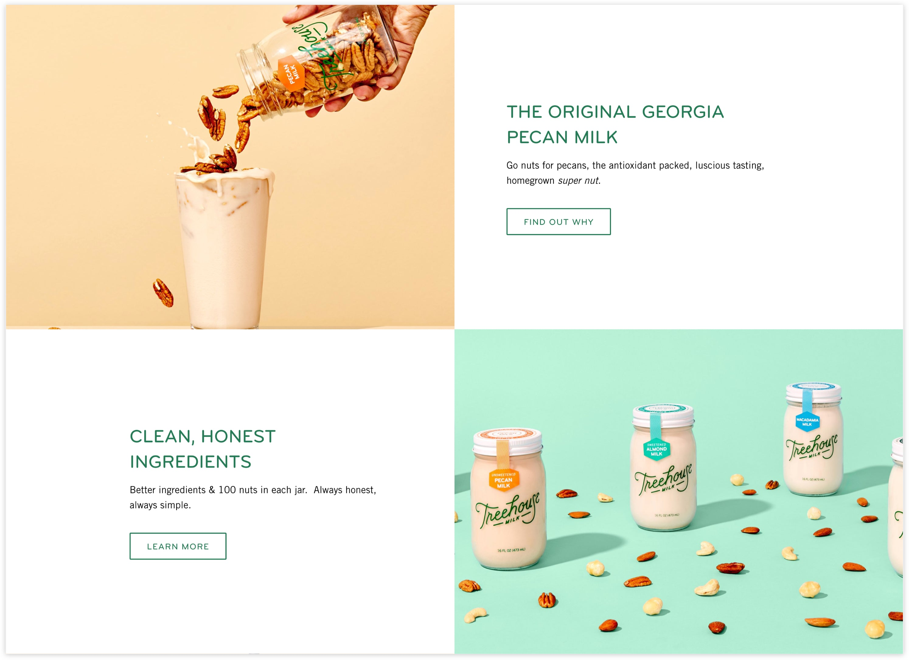 Treehouse Milk Homepage Detail, Plug and Play, clean and lively