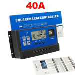 12V 24V 10/20/30/40A Solar Panel Battery Regulator Charge Controller with USB Outputs - Envistia Mall