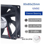 12V DC 80mm 2Pin 80x80x25mm CPU Cooling Computer PC Case 8025 Fan - Envistia Mall