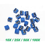 2-Pin 301-2P Screw Terminal Block Connector 5.08mm Pitch PCB Mount Blue - 10 / 25 / 50 / 100 Piece Packages - Envistia Mall