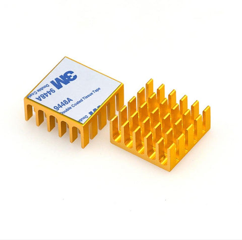 20x20x10mm Gold Anodized and Slotted Aluminium Heatsink With Double-Stick Thermal Pad - Envistia Mall