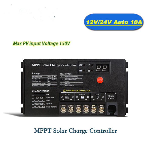 10A 12V/24V MPPT Solar Charge Controller 150V Panel Voltage 130W/12V 260W/24V Input