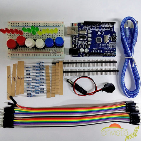 Arduino UNO R3 Compatible Starter Development Kit ATMEGA328P Microcontroller Breadboard - Envistia Mall