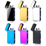 Classic Metal Case Dual Arc Plasma Flameless Windproof USB Rechargeable Electronic Lighter with Illuminated Switch and Battery Level Indicator - Envistia Mall