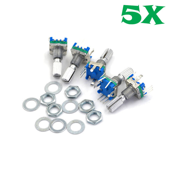 5Pcs EC-11 Rotary Encoder Digital Potentiometer 20mm Knurled Shaft with Switch EC11