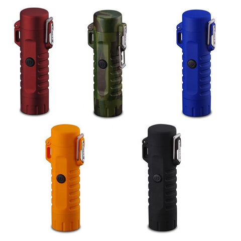 Dual Arc Plasma Electric Rechargeable Flameless Lighter Waterproof Windproof with Flashlight for Camping, Hiking, Skiing, Hunting, Outdoors - Envistia Mall