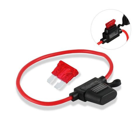 In-Line Waterproof Auto Mini Blade ATC 10A/15A/30A Fuse Holder with 10AWG or 12AWG Wire - Envistia Mall