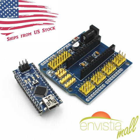 Nano 3.0 Micro-Controller ATMEGA328P with I / O Expansion Shield Module Arduino - Envistia Mall