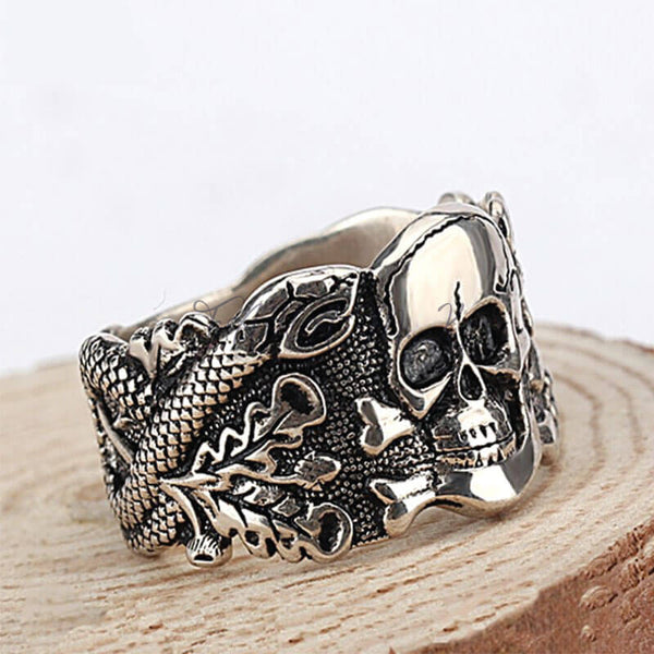 Skull Silver Ring Men,fahamk.com.