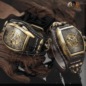 LEATHER SKULL MECHANIC WATCH FAHAMK.COM