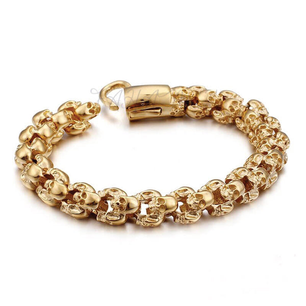 New Stainless Steel Gold Skull Bracelet,fahamk.com.